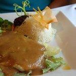 Lemongrass chicken with carrot butterfly garnish