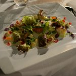 2001 Warm vegetable hearts salad with seafood, cream of lettuce and iodized juice