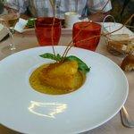 Plat: Rascasse cuite facon bouillabaisse, risotto