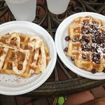 Cinnamon waffle on the left and chocolate chip on the right :)