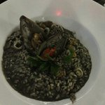 Seafood risotto with squid ink