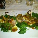 Délice de langoustines, petit poulpe rôti au cumin, caillette de figues et haricots verts