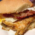 bacon, egg, ali oli sauce & chicken