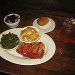 Meatloaf, greens/mpot/gravy/roll/tea/  blackberry cobbler