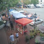 From his bedroom window.  Farmer's Market