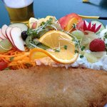fish and fruity salad with a pint of Helvellyn gold superb