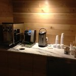 water and coffee station in hallway