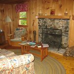 Our cabin's living room, with fireplace