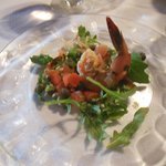 One of the 10 courses--a fresh shrimp salad