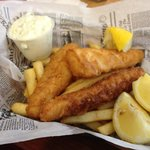 Fish and Chips, also served with Side of Soup