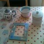 Our painted pottery awaiting the kiln.