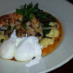Poached eggs, polenta, grilled shrimp - delish!