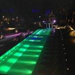 Xana Beach Club pool an Dj tower at night