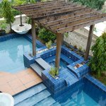 View of pool from second level of hostel.