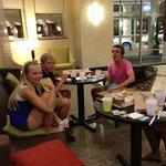 Enjoying the lobby and pizza