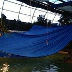 Tarp over hot springs pool