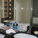 Vanity in Bathroom  Window opened for fresh air