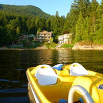 From the floating dock. The paddle boat is free for guests to use.