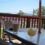 Enjoying our Iced Latte and Mango Sorbetto on the patio