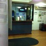 Lobby. Front Desk is behind Plexiglass