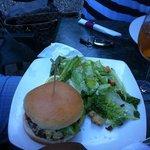 gourmet burger & Cesar salad