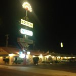 The Western Motel at night.