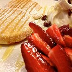 Mascarpone and strawberry pancakes