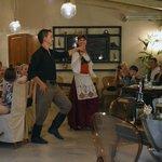 Greek dancing in the Corina restaurant