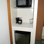 Microwave, coffee maker, and refrigerator