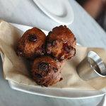 sweet potato/cranberry donuts - caramel sauce