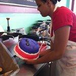 ice cream cake making