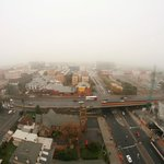 foggy adelaide morning overlooking north and west terrace
