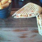panini on dirty looking blackened board