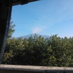 panorama of Etna volcano from the breakfast room
