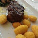 sirloin steak, medium rare.