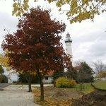 Lighthouse and fall foliage