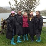 Decked out in our boots and rain coats!