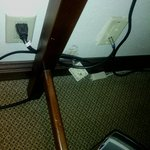 Outlets ripped or falling from the wall.