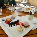 Chocolate flourless cake with scoops of: bacon, merlot, and lavender ice cream on the side..