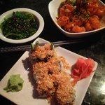 Crunchy Tuna Roll, Firecracker Shrimp, Seaweed Salad