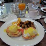 Salmon eggs benedict and best bacon ever~
