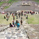 Looking down from half way up pyramid of the Sun