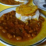 Close-up of my enormous side of beans, rice, and plantains