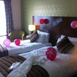 Twin room - decorated by ourselves - robe&slippers provided by hotel for the bride!