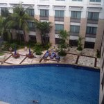 view from 9th floor to swimming pool, windows on ground floor are the restaurant