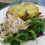 Mackerel and cheese on toast with side salad and homemade coleslaw