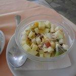 Breakfast - greek yogurt and fruit. Yummm!!