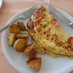 Breakfast - veggie omlette with potatos. Really good.