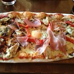 VIPizza - prosecco ham, mushroom, peppers, chicken & egg! With plenty of  balsamic!