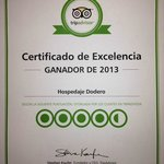 2013 TripAdvisor Certificate of Excellency